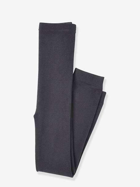 Girls' Leggings with Fleece Lining BLACK DARK SOLID+GREY DARK SOLID - vertbaudet enfant