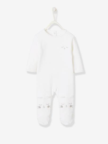 Pyjamas in Organic Velour for Babies, with Press-Studs on the Back WHITE LIGHT SOLID WITH DESIGN - vertbaudet enfant