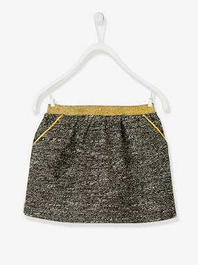 Vertbaudet Sale-Girls-Skirts-Straight-Cut Skirt with Stylish Shiny Details for Girls