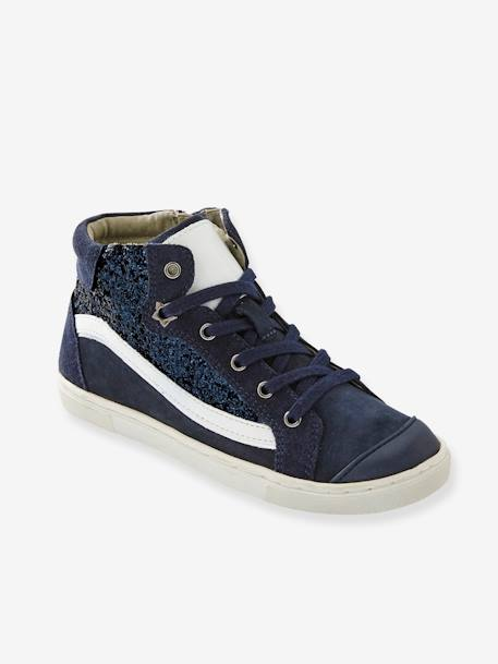 Girls' Leather High-Top Trainers with Glitter BLUE DARK SOLID WITH DESIGN+GREY MEDIUM SOLID WITH DESIGN+PINK MEDIUM SOLID WITH DESIG - vertbaudet enfant