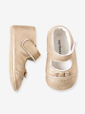 Shoes-Baby Footwear-Newborn-Girls' Leather Ballet-Style Slippers
