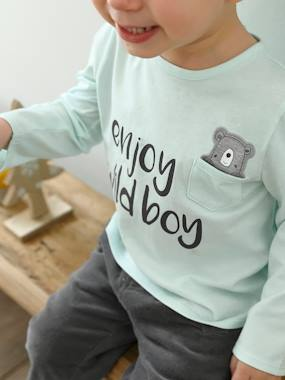 Vertbaudet Sale-Baby-T-shirts & Roll Neck T-Shirts-Top with Motif & Pocket, for Baby Boys