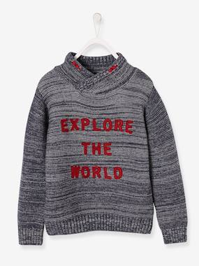 Vertbaudet Sale-Boys-Cardigans, Jumpers & Sweatshirts-Jumper with Crossover Collar and Applied Wording for Boys