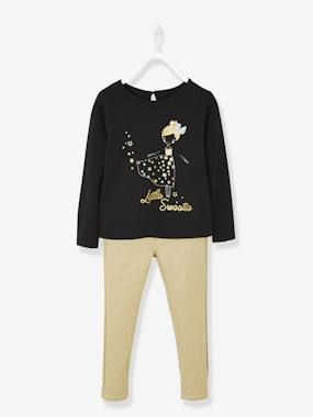 Girls-Tops-T-Shirts-Iridescent Outfit for Girls, Top with Motifs & Gold-Coloured Trousers