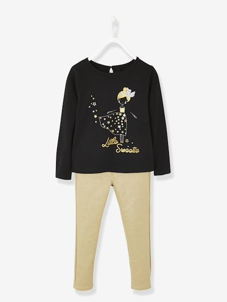 Iridescent Outfit for Girls, Top with Motifs & Gold-Coloured Trousers BLACK DARK SOLID WITH DESIGN - vertbaudet enfant