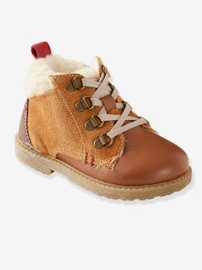 Vertbaudet Sale-Shoes-Leather Boots with Fur for Boys