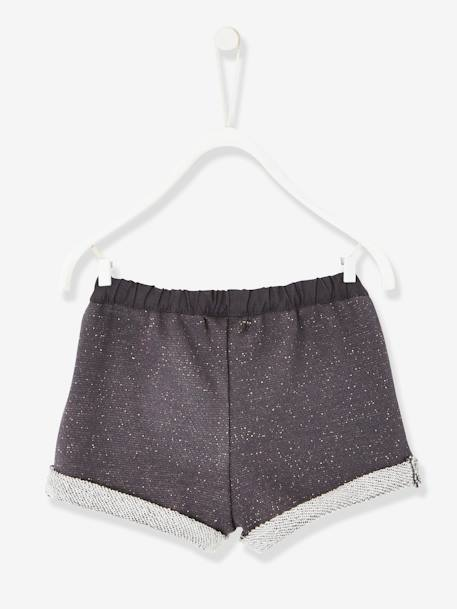 Baby Girls' Iridescent Fleece Shorts GREY DARK SOLID+PINK LIGHT SOLID - vertbaudet enfant