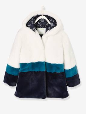 Vertbaudet Sale-Girls-Coats & Jackets-Three-Colour, Faux Fur Coat for Girls