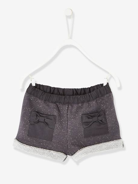 Baby Girls' Iridescent Fleece Shorts GREY DARK SOLID - vertbaudet enfant