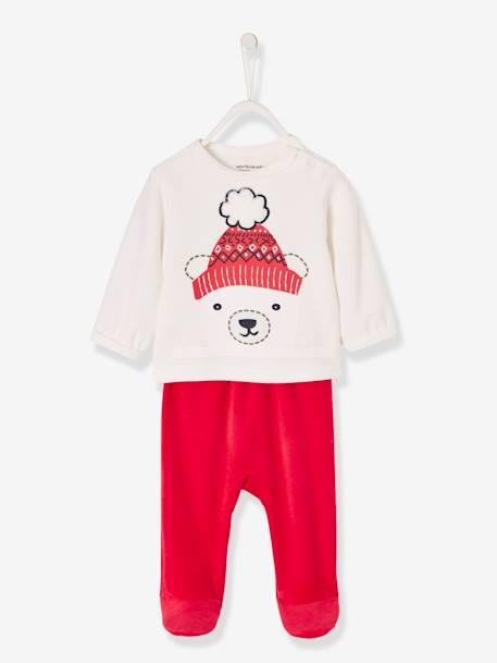 Baby Velour Pyjamas, Press-Studded Shoulder WHITE LIGHT SOLID WITH DESIGN - vertbaudet enfant