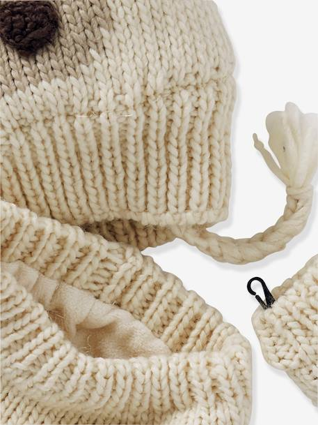 Knitted Beanie & Snood for Babies WHITE LIGHT SOLID WITH DESIGN - vertbaudet enfant