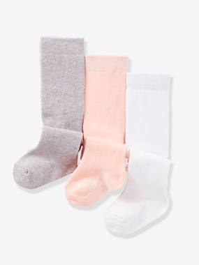 Baby-Socks & Tights-Baby Girl's Pack of 3 Tights