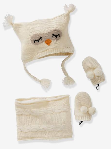 Baby Girls' Beanie, MIttens & Snood Owl Set GREY MEDIUM MIXED COLOR+WHITE LIGHT SOLID WITH DESIGN - vertbaudet enfant