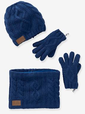 Vertbaudet Collection-Boys-Cable-Knit Beanie + Snood + Gloves for Boys