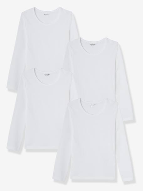 Girls' Pack of 4 Long-Sleeved T-Shirts White - vertbaudet enfant