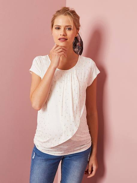 Maternity & Nursing Cross-Over T-Shirt BLUE DARK SOLID+Light grey marl+PINK MEDIUM SOLID+Printed ecru+YELLOW MEDIUM SOLID - vertbaudet enfant