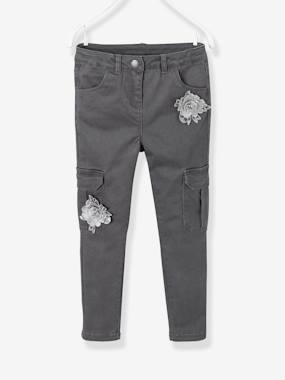 T-shirts-Slim Leg Cargo Trousers for Girls