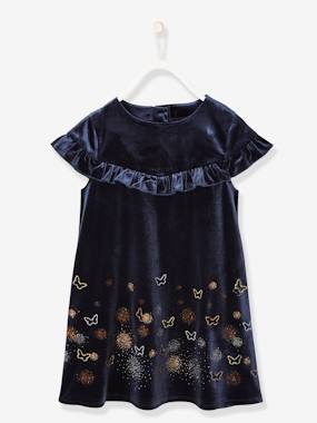 Vertbaudet Sale-Girls-Formal Velour Dress with Iridescent Butterflies, for Girls