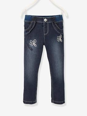 Girls-Jeans-Denim Trousers with Fancy Details for Girls