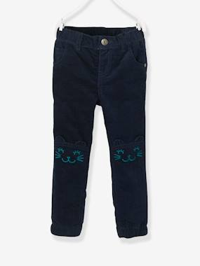 Vertbaudet Sale-Girls-Fleece-Lined Velour Trousers for Girls, with Cat Motif, Designed for Autonomy