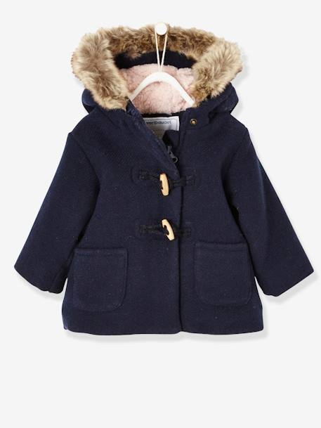 Woollen Coat with Fur Lining for Baby Girls BLUE DARK SOLID+PINK DARK SOLID - vertbaudet enfant