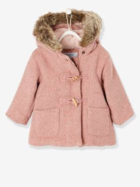 Winter collection-Baby-Woollen Coat with Fur Lining for Baby Girls