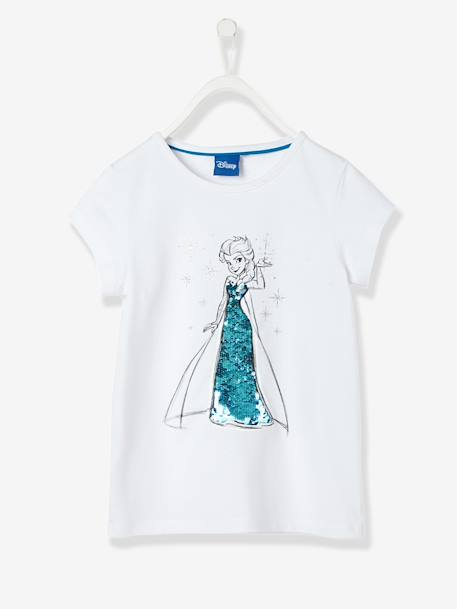 Girls' T-Shirt with Reversible Sequins, Frozen® Theme WHITE LIGHT SOLID WITH DESIGN - vertbaudet enfant
