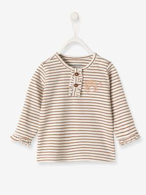 Baby-T-shirts & Roll Neck T-Shirts-Striped Top with Frills, for Baby Girls
