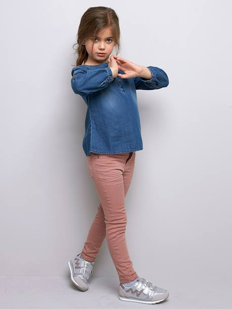 Light Denim Blouse for Girls BLUE DARK WASCHED - vertbaudet enfant