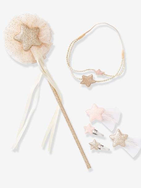 Set of Accessories for Girls: Magic Wand + Alice Band + Hair Clips BLUE DARK SOLID+PINK LIGHT SOLID - vertbaudet enfant