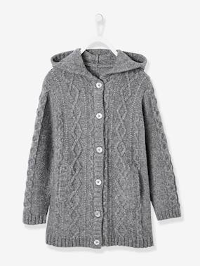 Girls-Cardigans, Jumpers & Sweatshirts-Hooded Cardigan for Girls