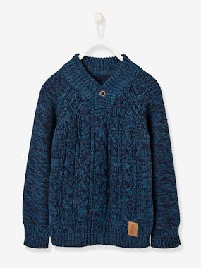 Boys-Cardigans, Jumpers & Sweatshirts-Jumpers-Cable-knit Pullover for Boys, Crossed Neckline