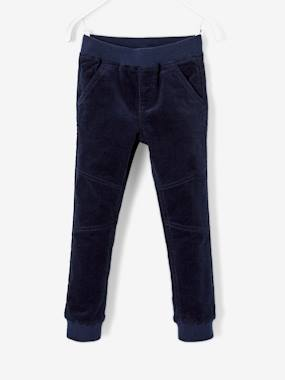 Vertbaudet Sale-Boys-Trousers-Stretch Velour Trousers with Lining for Boys