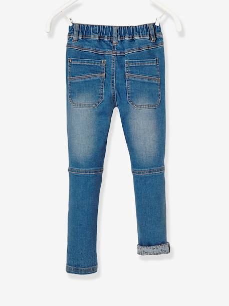 LARGE Fit, Boys' Slim Fit Jeans BLUE DARK WASCHED - vertbaudet enfant