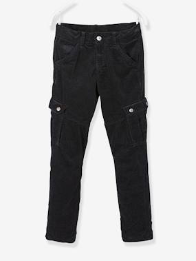 Vertbaudet Sale-Boys-Trousers-Velour Trousers with Lining for Boys
