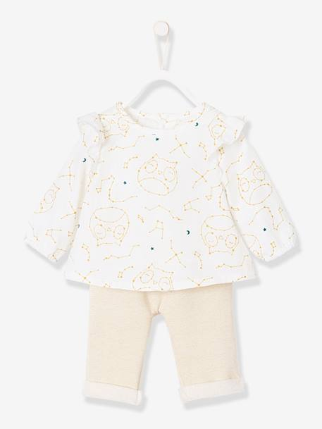 Blouse, Shorts & Tights Outfit for Newborn Baby, Owls WHITE LIGHT ALL OVER PRINTED - vertbaudet enfant