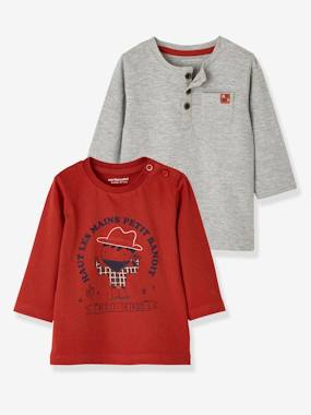 Vertbaudet Sale-Baby-T-shirts & Roll Neck T-Shirts-Pack of 2 Tops for Baby Boys, City Riders or Cowboy