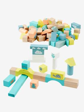 Toys-Building Games-Wooden Construction Game, 100 Pieces