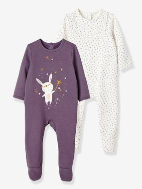 pyjama-Baby-Pack of 2 Baby Fleece Pyjamas, Back Press-Studs
