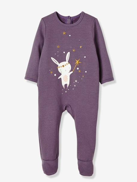 Pack of 2 Baby Fleece Pyjamas, Back Press-Studs PURPLE MEDIUM 2 COLOR/MULTICOL - vertbaudet enfant