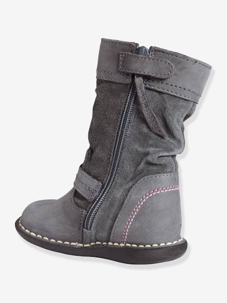 Girls' Bi-Material Boots Medium grey - vertbaudet enfant