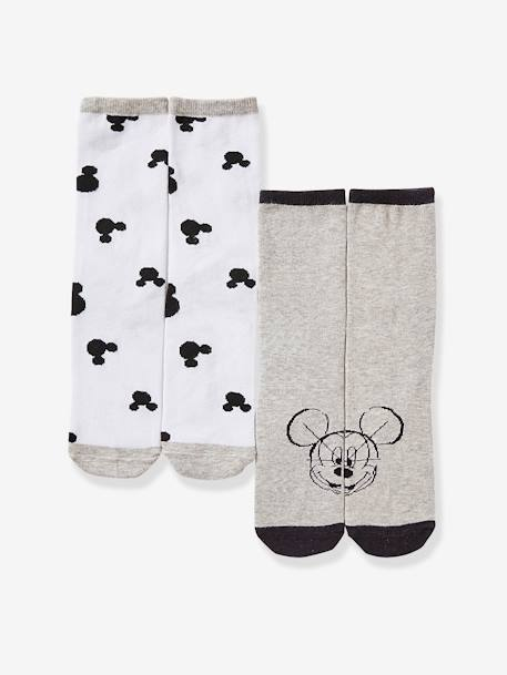 Pack of 2 Pairs of Mickey® socks GREY MEDIUM SOLID WITH DESIGN - vertbaudet enfant