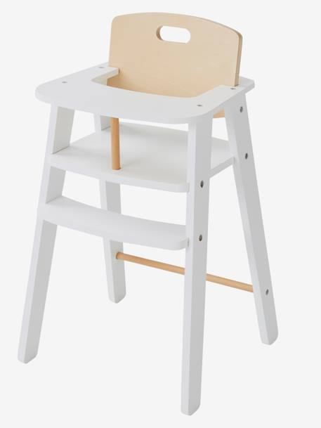 Wooden High Chair for Dolls WHITE LIGHT SOLID WITH DESIGN - vertbaudet enfant