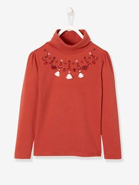 Girls-Tops-Roll Neck Tops-Polo Neck Embroidered Top with Tassels for Girls