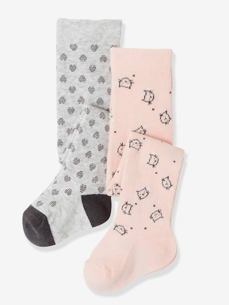 Lot de 2 collants bébé fantaisie LOT ROSE PALE - vertbaudet enfant