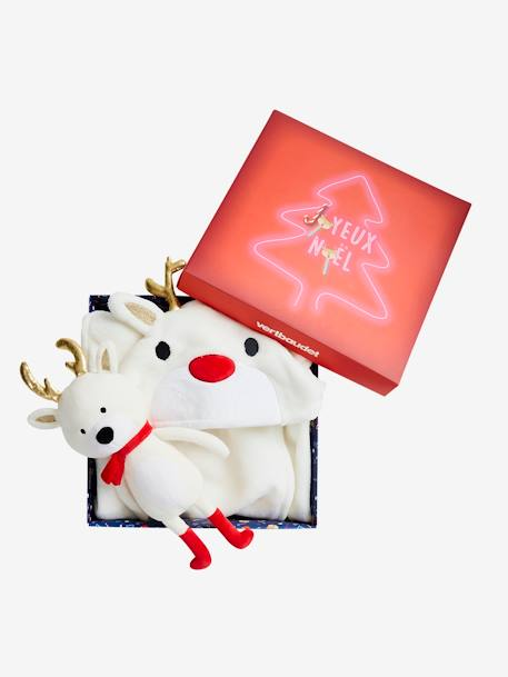 Gift Box with Blanket-Type Cape + Snow Reindeer Baby Comforter WHITE LIGHT SOLID WITH DESIGN - vertbaudet enfant