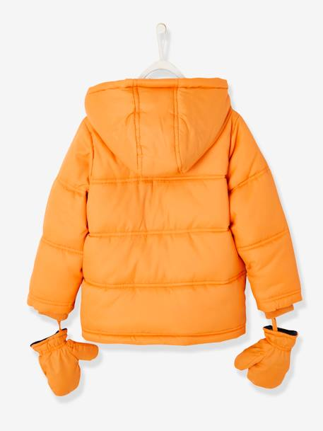 Padded Jacket for Boys, Fleece Lining BLUE DARK SOLID WITH DESIGN+BROWN DARK SOLID WITH DESIGN+ORANGE MEDIUM SOLID WITH DESIG - vertbaudet enfant