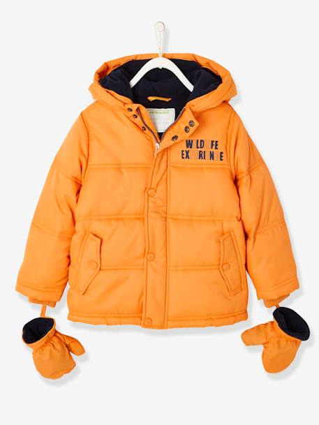 facb4da44623e Padded Jacket for Boys, Fleece Lining BLUE DARK SOLID WITH DESIGN+BROWN DARK  SOLID