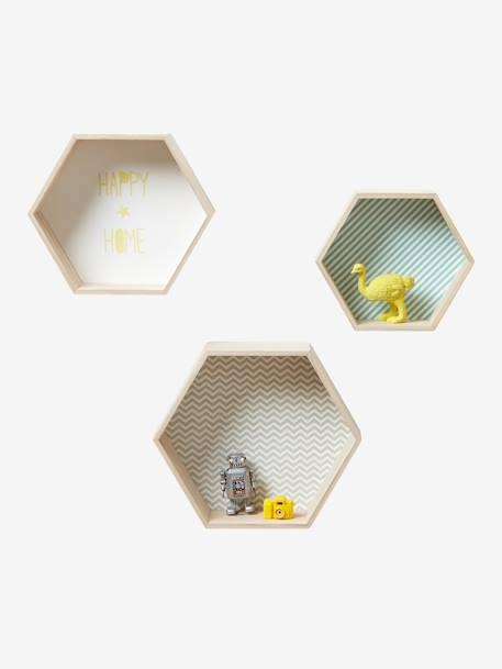 Lot de 3 étagères hexagones enfant - bois/multico, Décoration