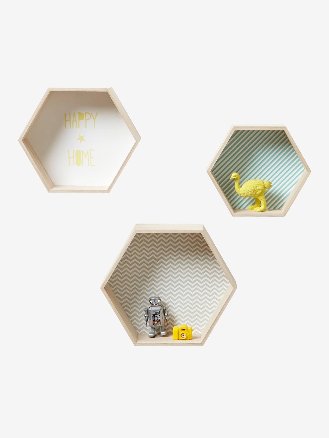 Lot De 3 étagères Hexagones Enfant BOIS/MULTICO   Vertbaudet Enfant
